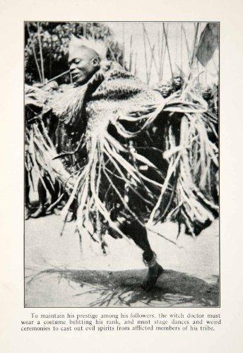 Doctor Dance Costume (1924 Print Witch Doctor Costume Faith Heal Ceremony Dance Medicine Uganda Africa - Original Halftone Print)