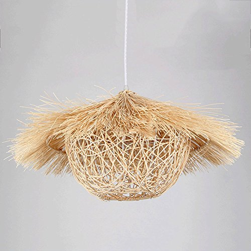 Naturel Rotin Lustre Retro Industrielle Vent Lampes De Suspension