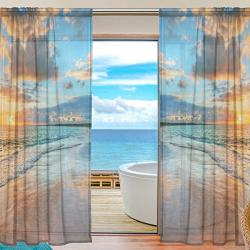 Cheap INGBAGS Bedroom Decor Living Room Decorations Beach Ocean Pattern Print Tulle Polyester Door Window Gauze / Sheer Curtain Drape Two Panels Set 55×78 inch ,Set of 2