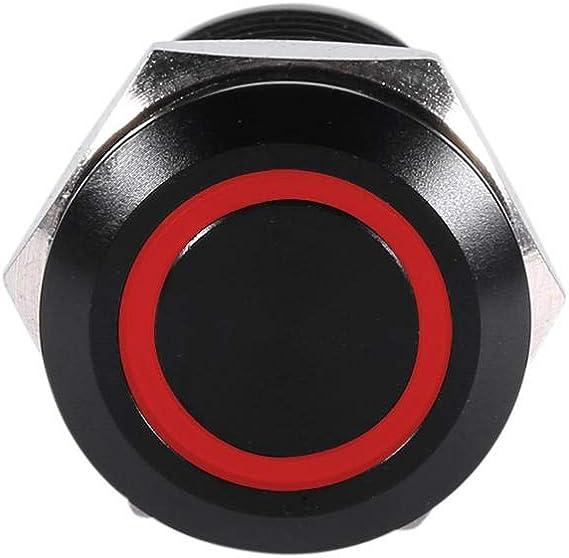 Waterproof Metal LED Self-locking Latching Push Button Metal Momentary Type Blue LED 2V 12mm Qiilu Car Power Push Button Switch