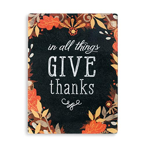 Give Thanks Autumn Leaves 12 x 9 Glass Thanksgiving Cutting Carving Board Insert (Blocks Thanks Give)