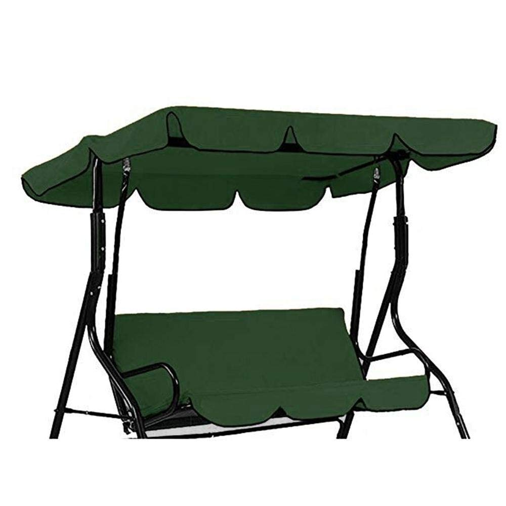 QEES 3 Seater Hammock Cushioned Swing Chair Top Cover, 2-Person Outdoor Swing Canopy Replacement Top Cover, Patio Swing Glider Cover, Lounge Chair Protector Cover JJZ1288 (Green) by QEES