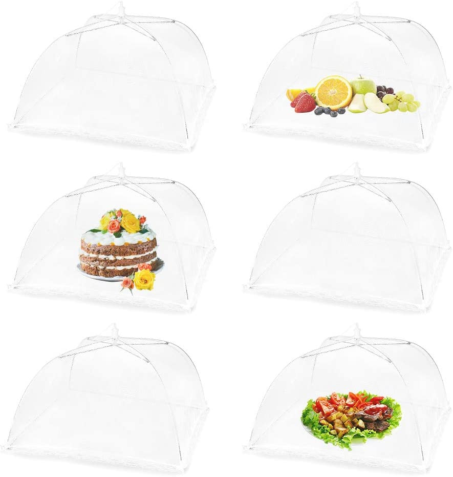 (6 Pack) Pop-Up Food Cover Tent 17 x 17 Inches Outdoor Picnic Food Cover Net Keep Food Clean and Hygienic Suitable for Parties, Picnics, BBQs, Reusable and Collapsible