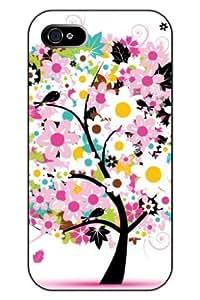 SPRAWL Stylish Unique Design Girly Pink Smile Flowers Hard Plastic Snap on iPhone 4s Case Tree of Life