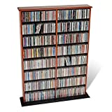 Pemberly Row 51'' Double CD DVD Wall Media Storage Rack in Cherry and Black