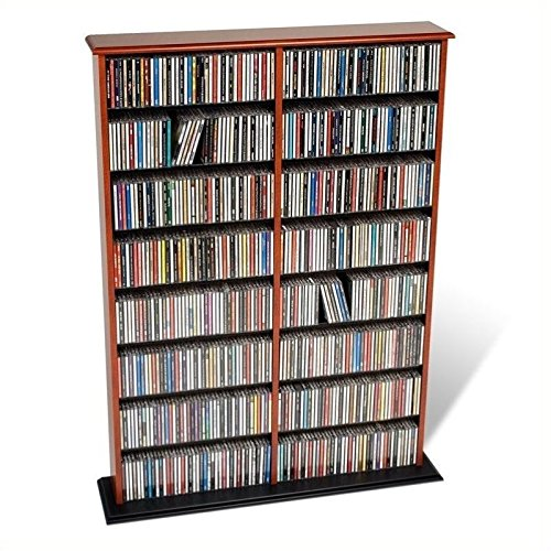 Pemberly Row 51'' Double CD DVD Wall Media Storage Rack in Cherry and Black by Pemberly Row