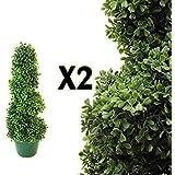 2Künstliche (TM) 2FT 60cm Buchsbaum Spirale formschnittbäume * * UV-Verblassen geschützt * *
