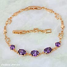 BMALL Glam Luxe Mysterious 18K Yellow Gold Plated Purple Zircon Fashion Amethyst Bracelets Bangles 22Cm 8.66 Inch B247