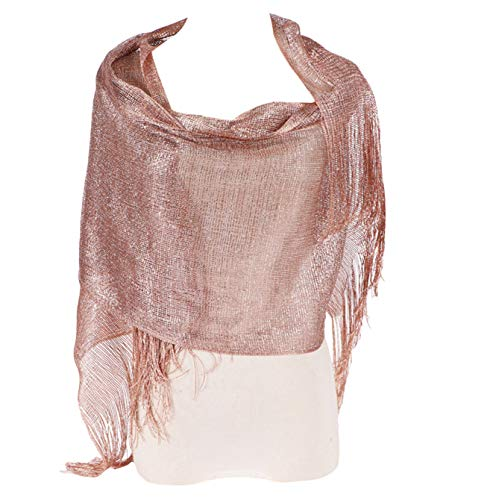 Rose Wrap - L'vow Womens Wedding Cape Glitter Metallic Evening Shawl Wrap Fringed Scarf for Evening Dresses (Rose gold)