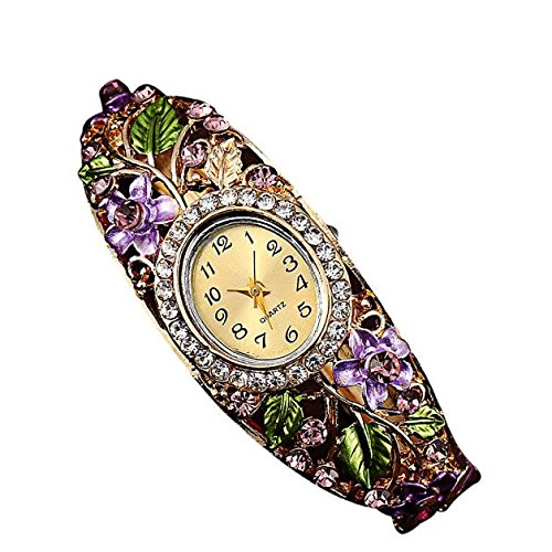 Diamond Bracelet watch Women Bangle Crystal Flower Bracelet Quartz Watch Wristwatc (Purple) ()