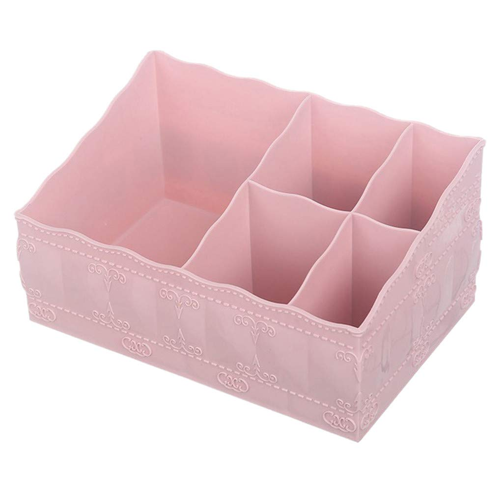 Onegirl Multi-grid Desktop Storage Box Cosmetic Storage Makeup Organizer 20 x13.5 x10cm, Cosmetic Skin Care Products Plastic Storage Rack Case Basket Pencil Phone Holder for Home Office (Pink)