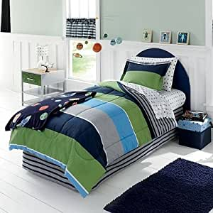 blue navy green gray boys stars and stripes twin comforter set 5 piece bed in a. Black Bedroom Furniture Sets. Home Design Ideas