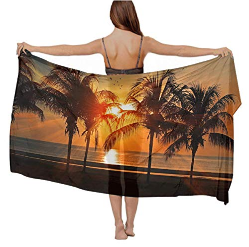 Ladyies Stylish Sexy Scarf Cashmere Feel Oversized Head Wrap Bathing Suit for Dinner Party Travel Swim, Tropical Sunset Coconut Palm Tree Summer Paisley Evening Dresses Cape ()