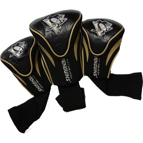 Team Golf NHL Pittsburgh Penguins Contour Golf Club Headcovers (3 Count), Numbered 1, 3, & X, Fits Oversized Drivers, Utility, Rescue & Fairway Clubs, Velour lined for Extra Club Protection