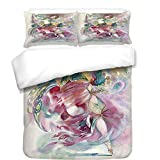 iPrint 3Pcs Duvet Cover Set,Watercolor,Oriental Dance Theme Young Girl Performing in Traditional Costume Fantasy Figure,Multicolor,Best Bedding Gifts for Family/Friends