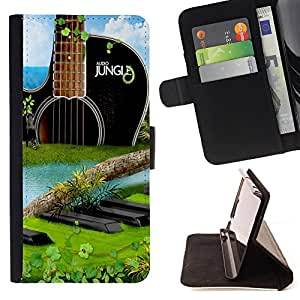 King Air - Premium PU Leather Wallet Case with Card Slots, Cash Compartment and Detachable Wrist Strap FOR Samsung Galaxy S3 III I9300 I9308 I737- Guitar Music