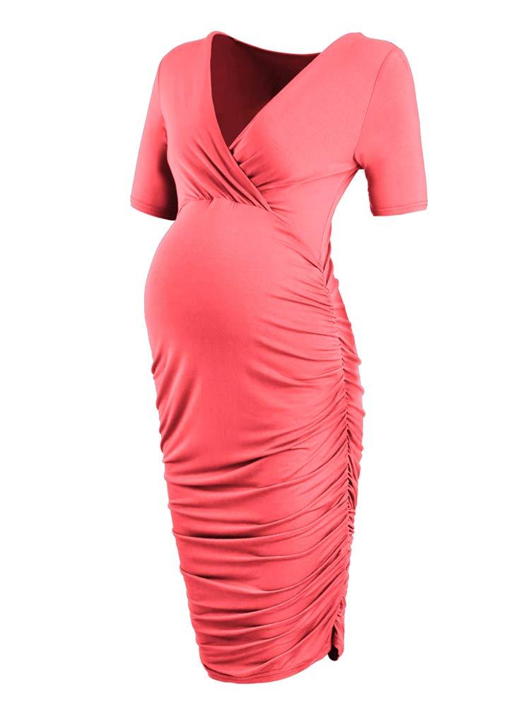 CareGabi Women's Wrap Maternity Bodycon Dress Breastfeeding Nursing Dresses (S, Tangerinebr)