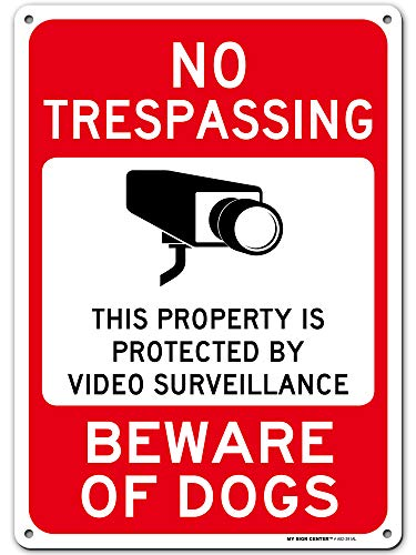 """Beware of Dog Sign, No Trespassing Video Surveillance Sign, Outdoor Rust-Free Metal, 10"""" X 14"""" - by My Sign Center, A82-391AL"""