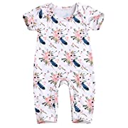 Happy Town Baby Girls Jumpsuit Hoodie Romper Outfit Long Sleeve Creepers Bodysuit Summer Clothes (White#1, 0-6 Months)