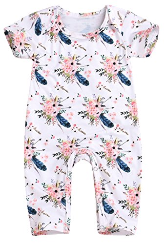 Happy Town Baby Girls Jumpsuit Hoodie Romper Outfit Long Sleeve Creepers Bodysuit Summer Clothes (White#1, 0-6 Months) -