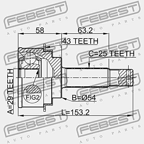 0410-h76/a43 Febest ext/érieur CV Joint 29/x 54/x 25