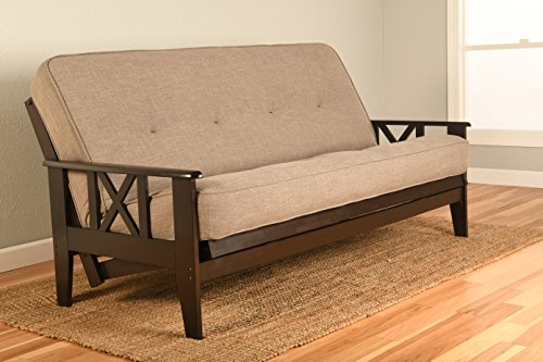 Montreal X Espresso Futon Frame w/ Quality 8 Inch Innerspring Mattress Sofa Bed Set Full Size (Stone Linen Matt and Frame Only)