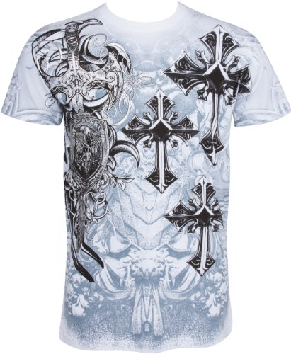 TG527T Cross,Sword and Shield Metallic Silver Embossed Short Sleeve Crew Neck Cotton Mens Fashion T-Shirt - White/Medium (Designer Outlet New Jersey)