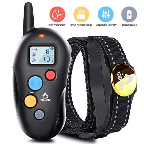 Patpet Dog Training Collar IPX7 Waterproof, Rechargeable Shock Collar for Dogs, 1600FT Long Remote Range, 3 Modes Beep/Vibration/Shock E Collar for All Sizes Dogs, Blind Operation& Mute Buttons -