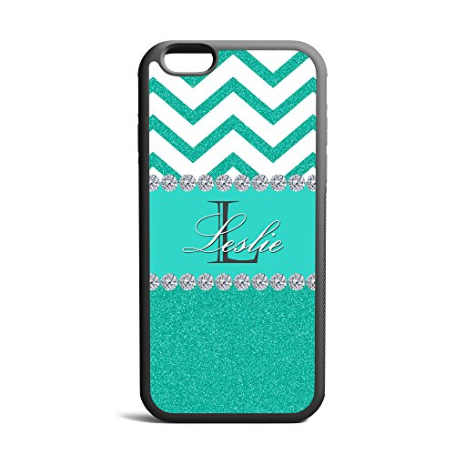 Turquoise Glitter White Chevron Monogrammed Cover, Case Rubber Black For iPhone 6 Plus, iPhone 6 4.7