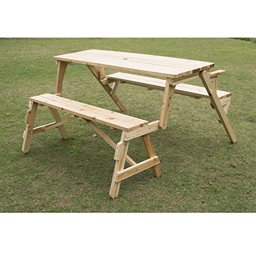 2 In 1 Design Convertible Picnic Table And Garden Bench Compact For Easy Transport