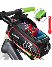 Zacro Bike Frame Bag, Waterproof Bike Pouch Bag, Top Tube Frame Pannier Mobile Phone Touch Screen Holder Bike Bag with Headphone Hole for iPhone Samsung and other Smartphones Smaller than 6 Inches