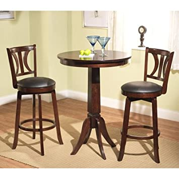 Houston 3 Piece Pub Table Set & Amazon.com: Houston 3 Piece Pub Table Set: Kitchen u0026 Dining
