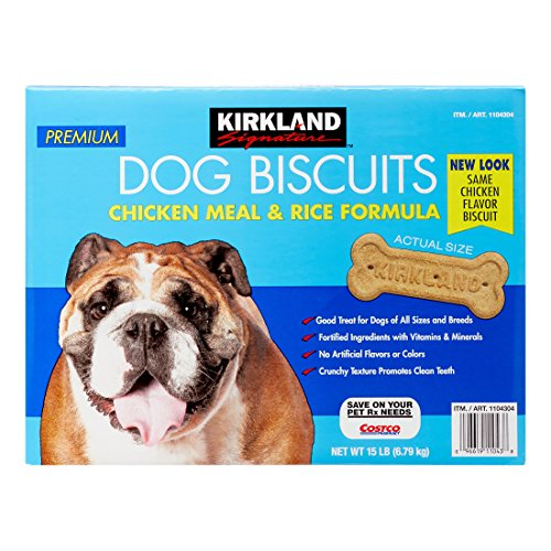 Kirkland Signature Premium Dog Biscuits Chicken Meal & Rice Forumla All Sizes & Breeds - 15 lbs. ()