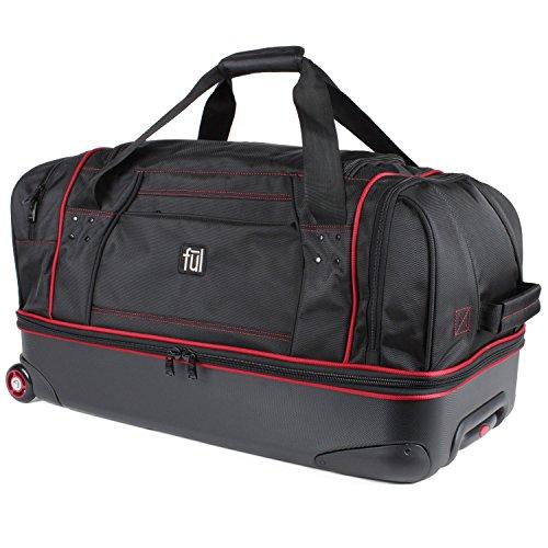 29 Wheeled Large Duffel (Flx 28in Hybrid Rolling Duffel Bag, Retractable Pull Handle, Split Level Storage, Black)