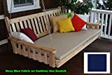 Cheap BEST HANGING PORCH SWING BED SWINGBED, 6′ Cedar Swinging Daybed For Relaxing Moments, Fun 3 Person Seating For Patio Porches Pergola Furniture, (4-inch, Swingbed w Cushion – Navy Blue)