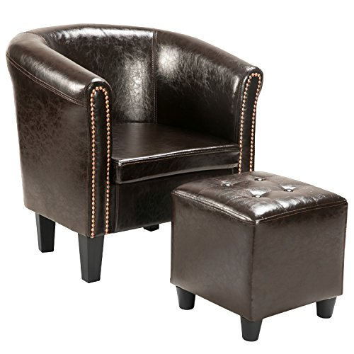 Harper&Bright Designs Armchair Upholstered Living Room Club Chair with PU Leather and Ottoman Brown (Brown) Club Chair Ottoman