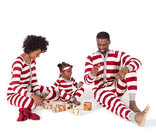Burt's Bees Baby Family Jammies, Holiday Matching Pajamas, Rugby Stripe Cranberry, Mens