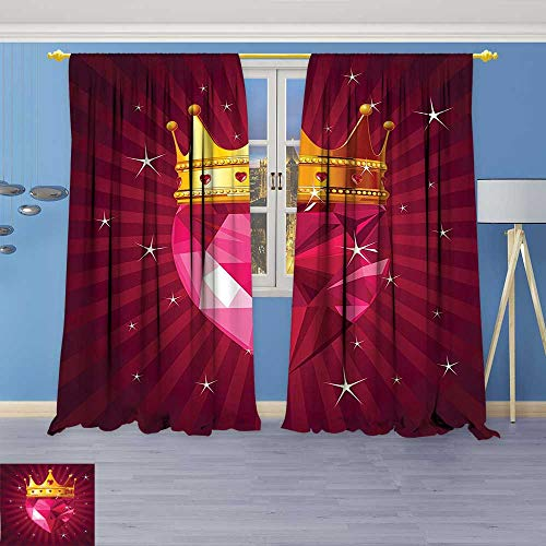 Crystal Astoria Clear (Rustic Home Decor Curtains,Crystal Love Heart Diamond Wearing A Crown Princess Queen Gem Theme On Radial,Living Room Bedroom Window Drapes 2 Panel Set)
