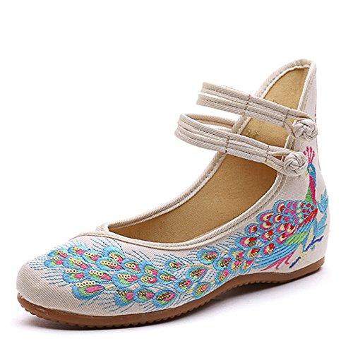 Las de Pavo Bordado Mujeres Fanwer Pisos Suave Cómodos de Beige Zapatos Suela del Chinas Real Lentejuelas Baile xnX1SSqA