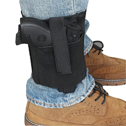 Ankle Holster with padding for Concealed Carry with Elastic Secure Strap Pistol Concealment for Women Men Fits for Small to Medium Frame Pistols and Revolvor, Black (Ankle Pistol Holster)
