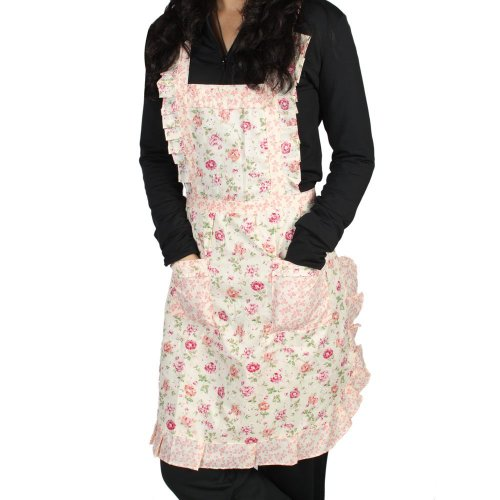 niceEshop Stylish Rose Flower Pattern Women's Chefs Cooking Cook Apron Bib with Pockets