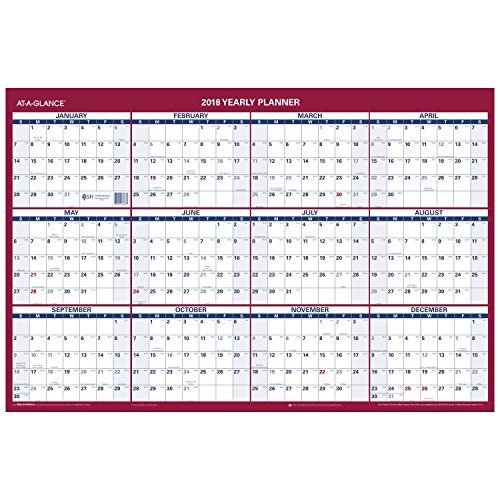AT A GLANCE Erasable Vertical/Horizontal Wall Planner, 24 x 36, Blue/Red, 2018 (PM2628) Horizontal Wall Planner