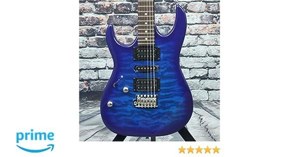 Left Transparent Blue Burst Full Ibanez GRX 6 String Solid-Body Electric Guitar GRX70QALTBB