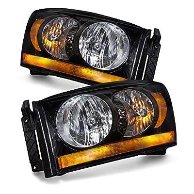 Dodge Ram Pickup Truck Black Headlights Set w/Halogen-Type Xenon Bulbs