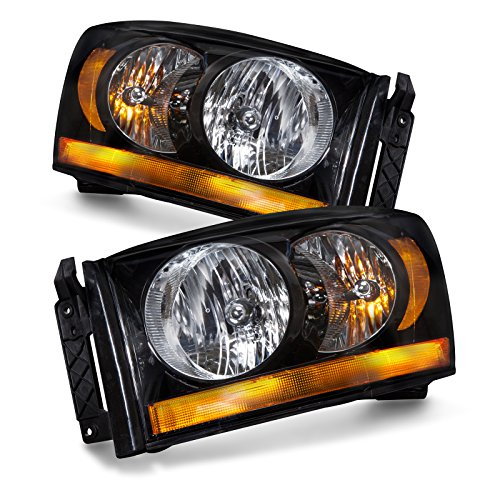 Headlights Depot Replacement for Dodge Ram Truck New Black Headlights Set Headlamps ()