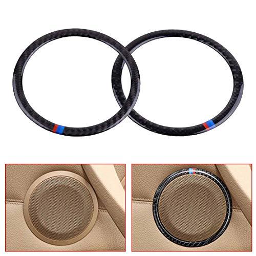 (Cacys-Store - 2PCS Carbon Fiber Car Door Speaker Sticker Decorative Loudspeaker Circle Sticker Cover Trim Fit for BMW 3 Series E90 X1 E84)