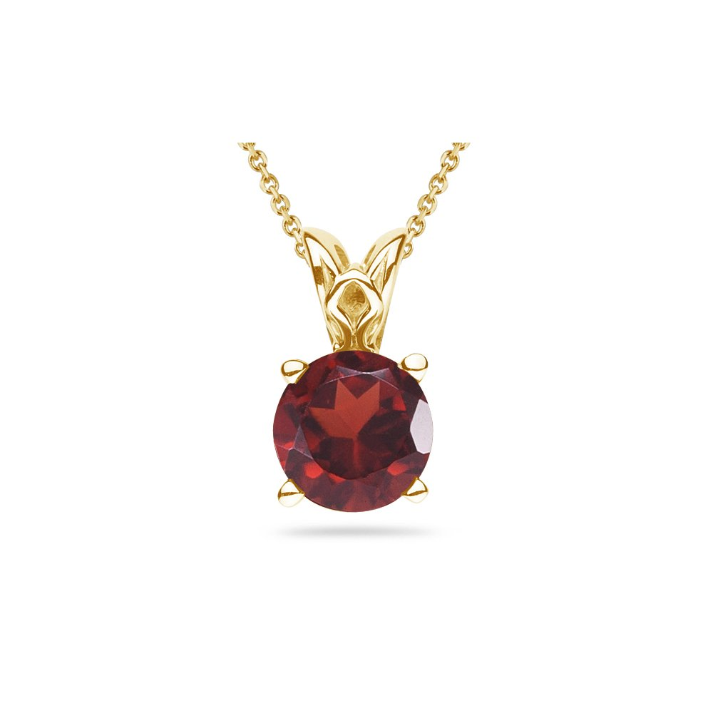 3.00-3.50 Cts of 9 mm AAA Round Garnet Scroll Solitaire Pendant in 14K Yellow Gold