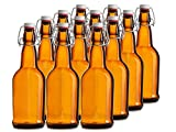 reusable glass soda bottles - Chef's Star CASE OF 12 - 16 oz. EASY CAP Beer Bottles - AMBER