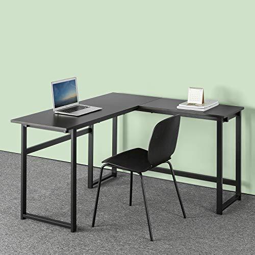 ZINUS Luke 53 Inch Black Metal Corner Desk / L-Shaped Computer Desk / Office Desk / Easy