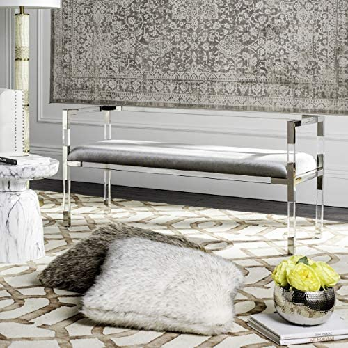 Safavieh Couture Home Anastasia 47-inch Glam Grey and Silver Acrylic Bench